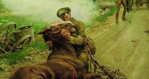 """Goodbye Old Man"", watercolour, painted by Fortunino Matania (Italian, 1881-1963), showing a British soldier saying farewell to his dying horse. The painting was commissioned by The Blue Cross Fund in 1916 to raise money to help relieve the suffering of horses on active service in Europe.  Over one million horses saw service with the British Army during World War I and The Blue Cross treated thousands."