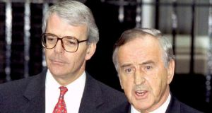 Former British prime minister John Major said he 'treasured' the last time he had met former taoiseach Albert Reynolds. File photograph: Andrew Shaw/Reuters