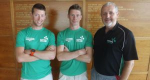 The Ireland men's pair of Mark O'Donovan and Niall Kenny, who will be competing at the World Championships in Bosbaan, near Amsterdam, which start on Sunday,  with coach John Holland.