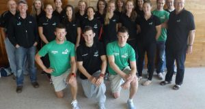 The Ireland team and coaches prior to departing for the World Rowing championships, which start on the  Bosbaan course outside Amsterdam on Sunday.