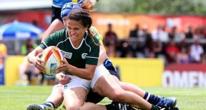 Tania Rosser scores a fine individual try for Ireland against Kazakhstan. Photograph: Dan Sheridan/Inpho