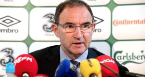 Republic of Ireland manager Martin O'Neill at the offical  announcement of his 36-man squad for the upcoming games against Oman and Georgia. Photograph: James Crombie/Inpho