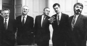 From left: Des O'Malley, John Bruton, Albert Reynolds, Dick Spring and Proinsias De Rossa. Photograph: Irish Times Archive