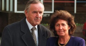 Former taoiseach Albert Reynolds with his wife, Kathleen, in 1996: he got a palpable buzz out of life and people, without a drop of alcohol passing his lips (apart from a sip of champagne in September 1994 when the IRA declared a ceasefire, his life's great achievement). Photograph: Frank Miller