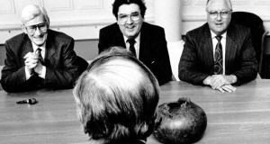 Taoiseach Albert Reynolds in talks with the SDLP  in 1992, (from left):  deputy leader Seamus Mallon MP, leader John Hume and Eddie McGrady MP at Government Buildings. Photograph: Matt Kavanagh/The Irish Times