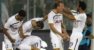 Tottenham players celebrate Harry Kane's winner in the victory over AEL Limassol at the Antonis Papadopoulos stadium in Larnaca, Cyprus. Photo:  EPA