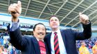 Cardiff City chairman Vincent Tan (left) and former manager Malky Mackay before their relationship soured. Photograph: PA Wire.
