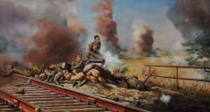 Fallen: a dramatic reconstruction by the war artist David Rowlands is based on accounts of Dease's defence of the railway bridge at Nimy
