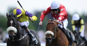 Mareek (right) lands the Duke Of York Clipper Logistics Stakes at York in May.