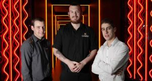 Jonathan Wilson, Aaron Carey and Dane Carr, three of the successful Learning for Life scheme candidates, at the Guinness Storehouse. Photograph: Mark Stedman/Photocall Ireland