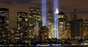 'We would lie around in the grubby evening sun, looking across to the Twin Towers, those gleaming sentry gates to Manhattan.' Above, the Tribute in Light memorial in remembrance September 11th. Photograph: Thinkstock