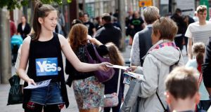 Independence for Women campaigner Aislin Smith in Glasgow. Opinion polls show Scottish women are less likely than men to vote Yes in next month's referendum on independence. Photograph: Danny Lawson/PA