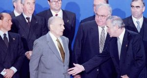 "'At one of his first EU meetings Albert Reynolds  came to the conclusion that Mitterrand was talking nonsense and simply butted in saying: ""Hang on a minute there François. I don't agree with that at all"".' Above,  Reynolds and  Mitterrand, along with  as Italian Prime Minister Silvio Berlusconi, French prime minister Edouard Balladur, German foreign minister Klaus Kinkel, German Chancellor Helmut Kohl and finance minster Theo Waigel at the two-day summit of the European Council December 1994. Photograph: Juergen Schwarz/  Reuter"