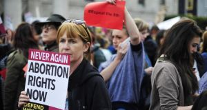 Protesters at a pro-choice rally in O'Connell Street, Dublin, this week. Photograph: Aidan Crawley 20/08/2014...News...Protestors pictured at a pro abortion rally in O'Connell Street, Dublin today.Photograph: Aidan Crawley