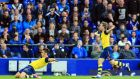 Arsenal's Olivier Giroud celebrates his late equaliser against Everton at Goodison Park. Photograph: Peter Byrne/PA Wire