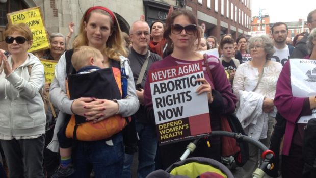 Pro-choice demonstrators at a rally in Dublin this afternoon. Photograph: Erin McGuire/The Irish Times
