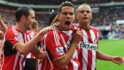 Jack Rodwell of Sunderland celebrates scoring the equaliser against Manchester United at Stadium of Light. Photograph:  Michael Regan/Getty Images