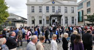 Queues at the Mansion House, Dublin, on Saturday where people was given the opportunity to see Albert Reynolds reposing. Photograph: Colin Keegan, Collins