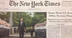 "Earlier this summer the New York Times carried a front-page story about a speech Barack Obama had given on US foreign policy with a headline referring to his ""Cautious Reponse to World Crisis""."