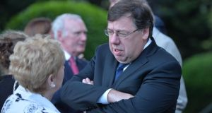 Former taoiseach Brian Cowen at the Church of the Sacred Heart in Donnybrook after the removal of Albert Reynolds. Photograph: Alan Betson