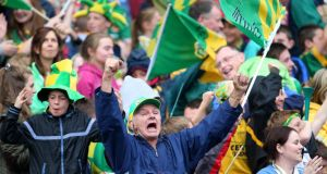 "Kerry supporters celebrate the equalizing point: ""Breathless was the only word, really, for that second half"". Photograph: Cathal Noonan/Inpho"