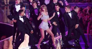 Taylor Swift performs 'Shake It Off' during the awards. Photograph: Mario Anzuoni/Reuters