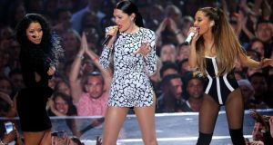 Singers Nicki Minaj, Jessie J and Ariana Grande perform onstage. Photograph: Mark Davis/Getty Images
