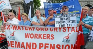Former Waterford Crystal workers during  a Unite rally outside Leinster House in Dublin last year.  Photograph: Eric Luke/The Irish Times
