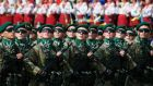 Border guards march during Ukraine's Independence Day military parade in the centre of Kiev yesterday. Photograph: Gleb Garanich/Reuters