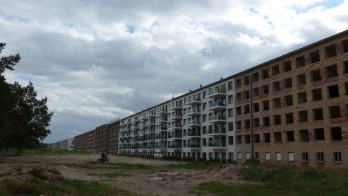 Renovated and unrenovated blocks in the Nazi/East German Prora complex on Rügen island. Photograph: Derek Scally.