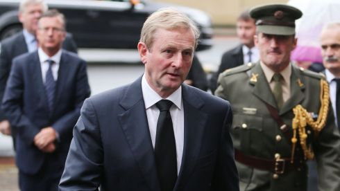 Taoiseach Enda Kenny arrives for the funeral of former taoiseach Albert Reynolds at the Sacred Heart Church, Donnybrook, Dublin. Photograph: Niall Carson/PA Wire.