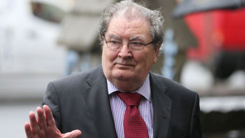 Former SDLP leader John Hume arrives for the funeral of former taoiseach Albert Reynolds at the Sacred Heart Church, Donnybrook, Dublin.  Photograph: Niall Carson/PA Wire.