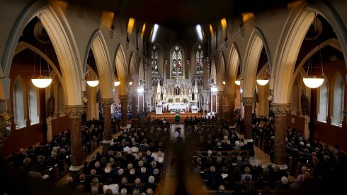 A view of the Church of the Sacred Heart in Donnybrook during the funeral mass of former taoiseach Albert Reynolds. Photograph: Maxwell's.