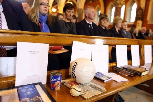 A collection of gifts that were offered during the funeral mass of former taoiseach Albert Reynolds at the Church of the Sacred Heart in Donnybrook. Photograph: Maxwell's.