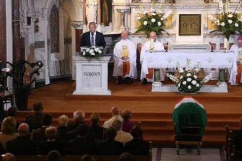 Philip Reynolds, son of Albert, speaking during his father's funeral at the Church of the Sacred Heart in Donnybrook. Photograph: Maxwell's.