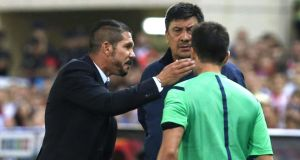 Atletico Madrid's Argentine  coach Diego Simeone (left) has been banned for eight games. Photograph: Juan Carlos Hidalgo / EPA