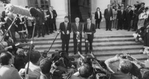 Gerry Adams, Albert Reynolds and John Hume after their meeting in Government Buildings, Dublin, when they publicly shook hands before the world media in September 1994. Photograph: Matt Kavanagh