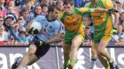 "Donegal's Kevin Cassidy and Dublin's Bryan Cullen during the 2011 All-Ireland football semi-final. ""Yeah, it's definitely an All-Ireland that we let slip."" says Cassidy."