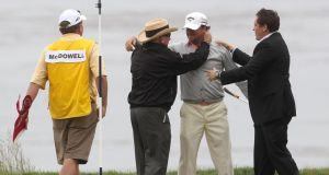 Graeme McDowell  celebrates with his father Ken (left), Horizon agent Connor Ridge (right) and caddie Ken Comboy after winning the 2010 US Open at Pebble Beach. Photograph:  Andrew Redington/Getty Images
