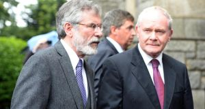 Sinn Féin's Gerry Adams and Martin McGuinness at the funeral of Mr Reynolds at the Church of the Sacred Heart, Donnybrook, Dublin, yesterday. Photograph: Eric Luke