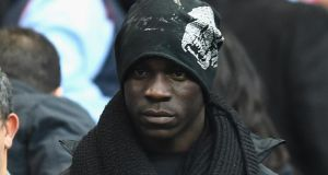 Mario Balotelli of Liverpool prior to the Barclays Premier League defeat to his former club Manchester City at the Etihad Stadium. Photograph:  Laurence Griffiths/Getty Images