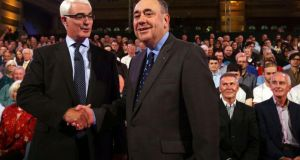 Better Together leader Alistair Darling and first minister of Scotland Alex Salmond in the Kelvingrove Art Gallery and Museum in Glasgow for the second independence debate. Photograph: David Cheskin/Reuters