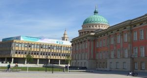 Panorama of church, old East German technical college and reconstructed Prussian palace now home to Brandenburg state parliament or Landtag. Photograph: Derek Scally/The Irish Times