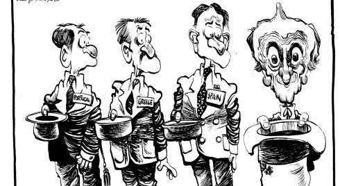 Martyn Turner cartoon of Albert Reynolds, 1993
