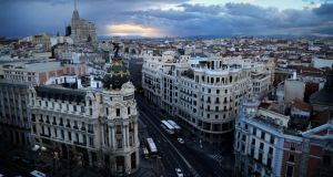 A view from the Tartan Roof atop the Circulo de Bellas Artes in Madrid. Photograph: Alexandra Garcia/The New York Times