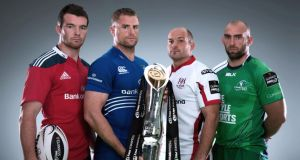 At the launch of the Guinness Pro12 season at Park Royal, London, were (left to right) Munster's Peter O'Mahony, Leinster's Jamie Heaslip, Ulster's Rory Best and Connacht's John Muldoon. Photograph: Billy Stickland/Inpho