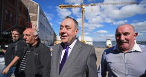 Scottish first minister and SNP leader Alex Salmond (second from right) during a visit to the Ferguson Shipbuilders' yard in Port Glasgow yesterday. Photograph: Jeff J Mitchell/Getty Images