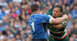 Alesana Tuilagi, right, in action against Leinster during the European Cup quarter-final match at the Aviva Stadium in Dublin, April 9th, 2011. Photograph: Getty Images