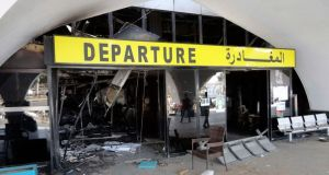 Tripoli airport, which was attacked in air strikes on Sunday.  Photograph: Reuters/Aimen Elsahli