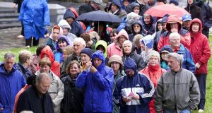 People line up to pray at a pilgrimage at Lough Derg, Co. Donegal. File Photograph: Eric Luke/The Irish Times
